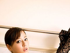 Arousing asian beauty with gorgeous milky white sk...