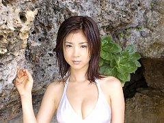 Gravure idol with plump petite breasts having fun...