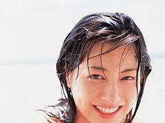 Yumi Sugimoto Japanese cutie at the beach in her b...