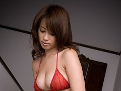 Lucious asian hottie with big titties in red lace...