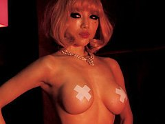Neo Asian babe with patches on firm big cans dance...