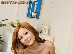Petite and sweet Sanae strips and spreads her tiny...
