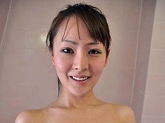 Ayaka washes a cock then sucks it dry of cum