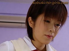 Kasumi Uehara in schoolgirl outfit, tight corset a...