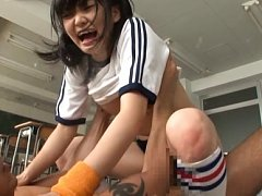 Kurumi Tachibana Asian is nailed under shorts a lo...