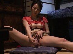 Hitomi Oohashi Asian busty licks vibrator and fuck...
