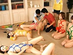 Japanese AV Model bound in thick rope and getting...