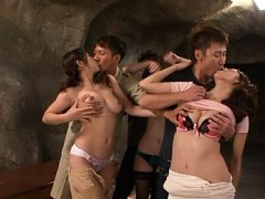 Japanese AV Model busty girl having her tits grope...