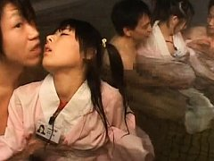 Japanese AV Model public bath sex scene with her s...