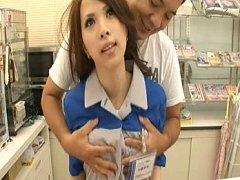 Japanese AV Model cute waitress having her tits gr...