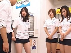 Japanese AV Model hops up on the counter to have h...