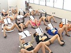 Japanese AV Model classroom of women showing their...