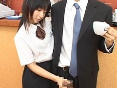 Japanese AV Model gives him tea and starts rubbing...