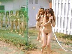 Japanese AV Model cute slave girl chained naked to...