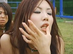 Japanese AV Model has cum all over her face after...