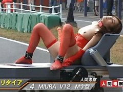 Maria Ozawa is tied to a car while being dildo fuc...