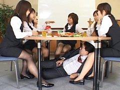 Crazy japanese men stroke in office on cute office...