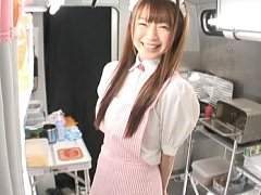 Sana cute Japanese girl ready to work at the food...