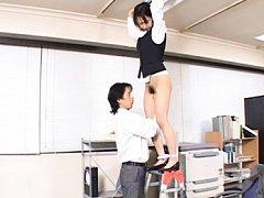 Japanese AV Model cute office girl hops up on the...