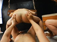 Ryo Tsujimoto wrists and head in stocks while fuck...