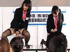 Japanese AV Model mounts the dildo while watched b...