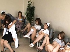 Japanese AV Model cute doctor is groped while froz...
