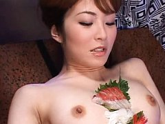 Miku Ohashi is used as a plate for sushi in this v...