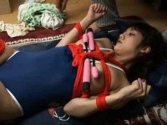 Rei Mizuna enjoying the vibrator on her perky tits...