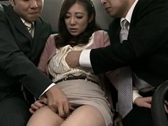 Minori Hatsune Asian is touched under skirt and bl...