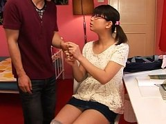 Koharu Aoi Asian with specs rubs her pussy while r...