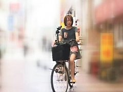 Anri Hiramatsu Asian rubbing her pussy of the bike...