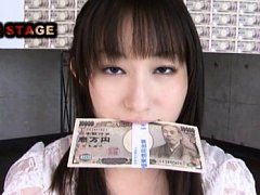 Mika Osawa Asian holds money in mouth with dudes m...