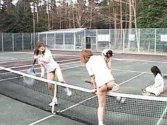 Japanese AV Model gets rear fucking on tennis cour...