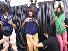 Japanese AV Model with gals are tied and have stoc...