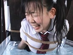 Japanese AV Model is tied on wheel and gets cold w...