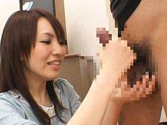 Japanese AV Model and babe stroke two dicks in dif...