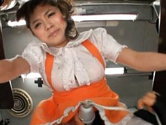 Japanese AV Model in orange uniform turned on by h...