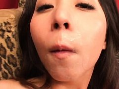 Yuka Osawa Asian has sperm over lips after blowjob...