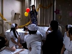 Japanese AV Model and nurses turn patient on in ho...
