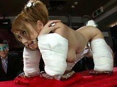 Reon Otowa Asian has legs and arms tied and mouth...