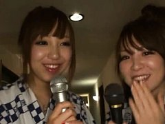 Japanese AV Model and two gals sing to mike before...