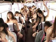 Japanese AV Model is screwed in a bus full of babe...