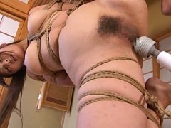 Yui Hatano Asian hanging in strong ropes has hairy...