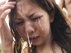 Rika Nagasawa Asian gets lot of sperm on face afte...