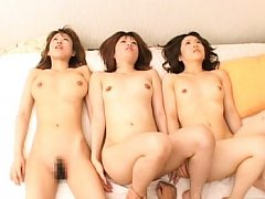 Japanese AV Model and two gals have cunts licked a...
