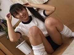 Hina Hinako pigtailed Asian teen is masturbating w...