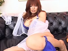 Yumi Takeda Asian whore is getting a loaded creamp...