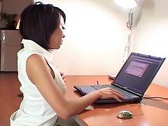 Tsubasa Okina Asian teen shows off her nice wet pu...