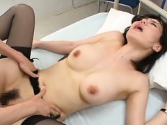 Nanako Mori Asian with round boobs and specs screa...