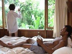 Kei Marimura Asian takes shirt off and shows bum w...